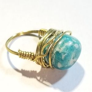 Hand Crafted Amazonite Brass Ring Size 5